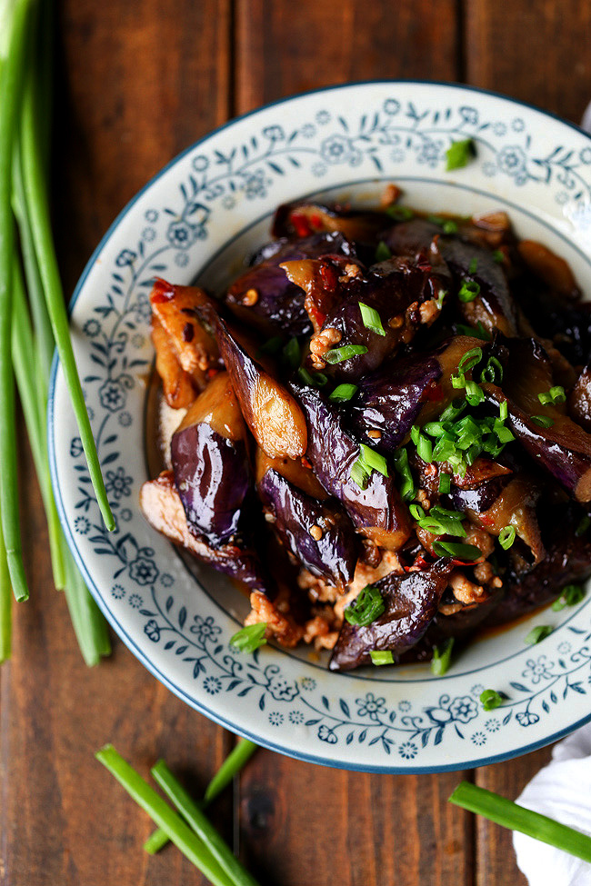 Chinese eggplant with minced pork recipe 鱼香茄子