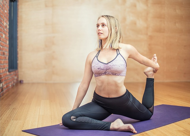 a lady practicing yoga